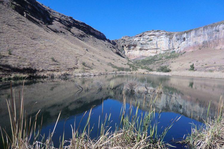 Viele Seen in Südafrika sind Stauseen, um die Wasserversorgung zu sichern. So auch dieser Weiher bei der Lodge.
