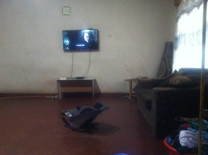 The interior of one of the households which I visited to take a sample. I had to wait for the pit emptiers who were late again, so the house owner placed me on the sofa and switched on the TV to show me Game of Thrones. On a Monday morning at 8 am. Took me a while to get the picture of someone being beheaded out of my mind again.