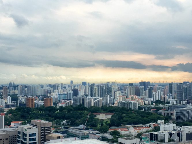 The white building in the park is the Istana, the residence of the president of Singapore.