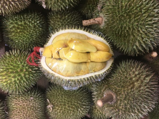 The infamous Durian fruit. It has a very peculiar smell and taste (you are for example not allowed to take it on the metro). People either hate it or love it. I love it.