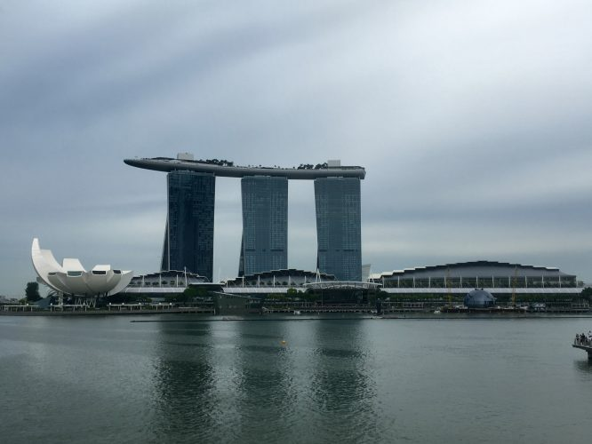 Probably the most famous building in Singapore and the culmination of its urban development: Marina Bay Sands - hotels, mall, and a ship on top. Because we can.