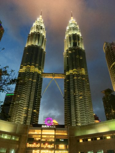 The modern symbol of KL: The Petronas towers named after the state-owned oil company, and the tallest twin towers in the world.