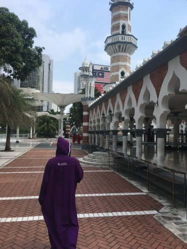 Afterwards, we visited one of the oldest mosques in KL. Women who were not dressed appropriately had to put on these secret society-like gowns.