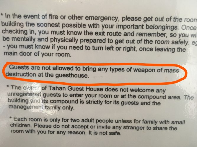 No nuclear bombs in this guesthouse.