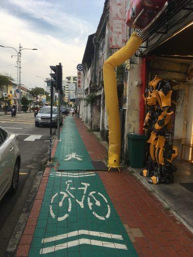 The first bike lane we saw in Malaysia!