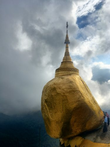The Golden Rock, kept in his unlikely position by one hair of Buddha placed in the stupa on top of the rock.