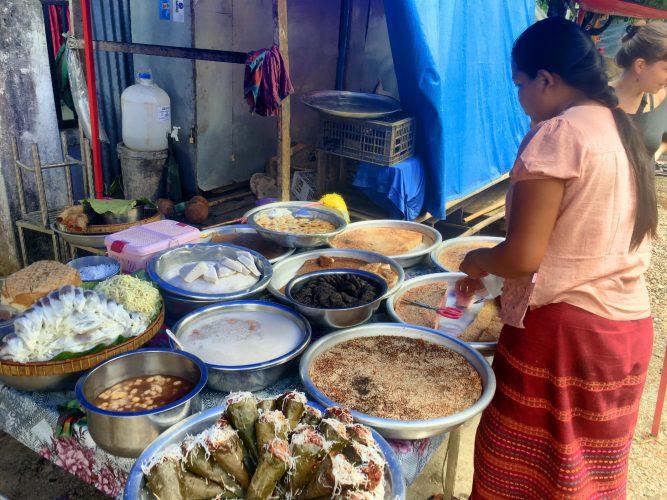 A dessert stall on a market.