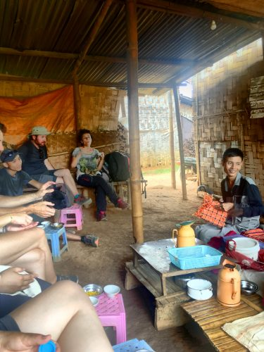 During the tea break in a local village, the guide explained local customs and traditions.