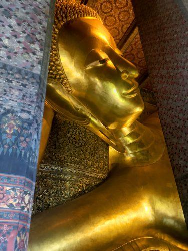 A giant reclining Buddha.