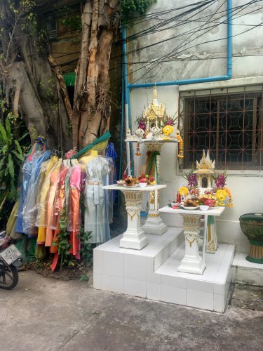 A typical shrine found in front of most houses or public buildings in Thailand, used to placate the house spirits.