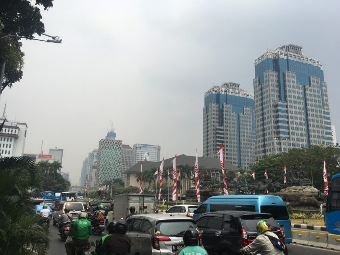 But not all of Jakarta is looking so shabby chic - this is in the financial district.
