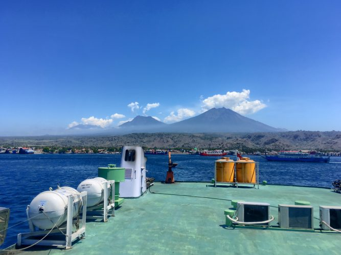 A last view on Ijen from the ferry to Bali.