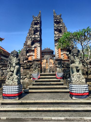 "This ""split"" entrance is a typical architectonical feature of Balinese Hindu temples."