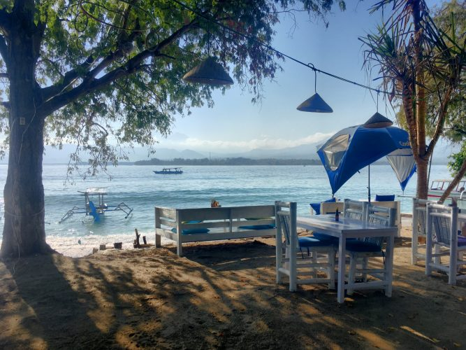 On Gili Air, the third island we've been to.