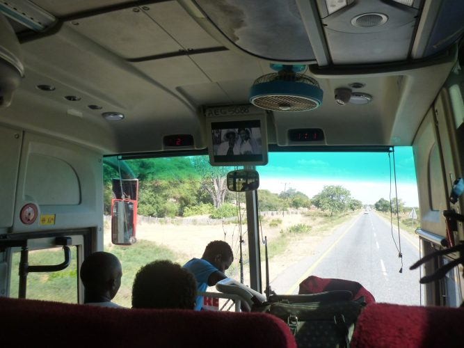 On the way to Harare, with low-budget music videos on the screen.