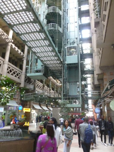 The Eastgate Center is a large shopping mall which was designed similar to a termite mound. Opened in 1996, it was designed to be ventilated and cooled entirely passively, and as such was one of the first buildings in the world to use natural cooling to that extent.