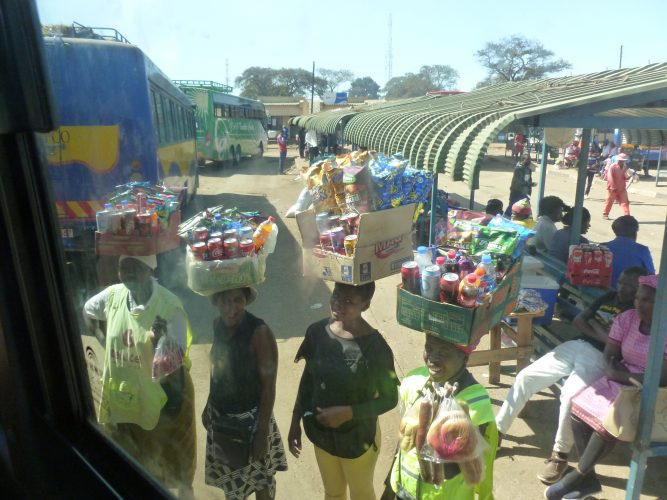 At each stop of the bus, a lot of vendors came running towards the bus, selling snacks, drinks, fruits and phone chargers. While most came into the bus, you could directly buy from these by reaching out of the window.