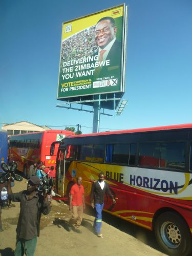 Signs of the upcoming elections. This is the party of Mugabe, which also holds the presidency at the moment.