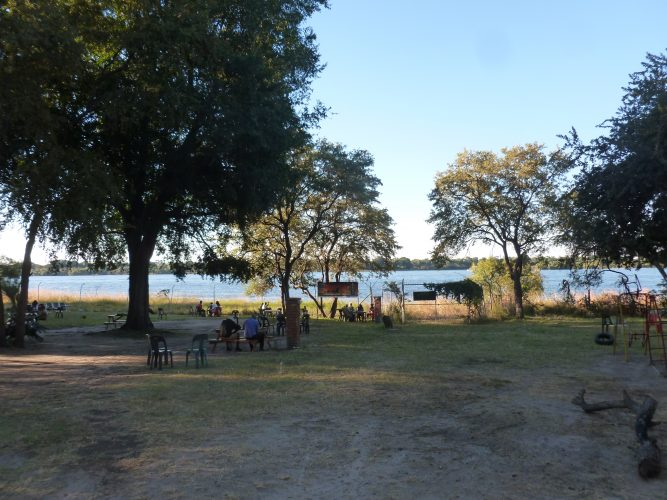 My couchsurfing hosts and me were having a barbecue by the Zambezi river. Some kilometers further downstream, the Zambezi forms the Victoria Falls.