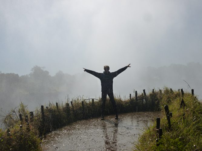 """At some viewpoints, the air was so saturated with water vapor that it was constantly """"raining""""."""