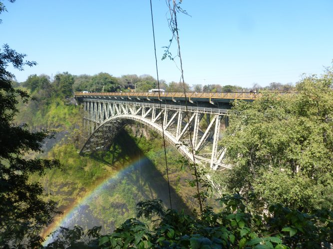 The Victoria Falls bridge, a masterpiece of engineering constructed in 1905.