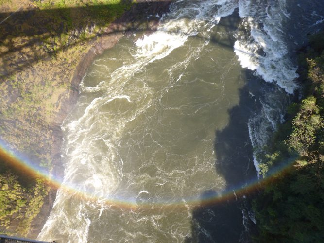 From the bridge, you can do bungee jumping. Probably one of the few places on the planet where you can jump into a rainbow.